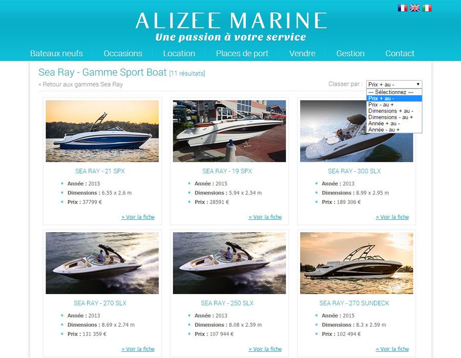 Alizee Marine, revendeur Sea Ray neuf et occasions, places de port