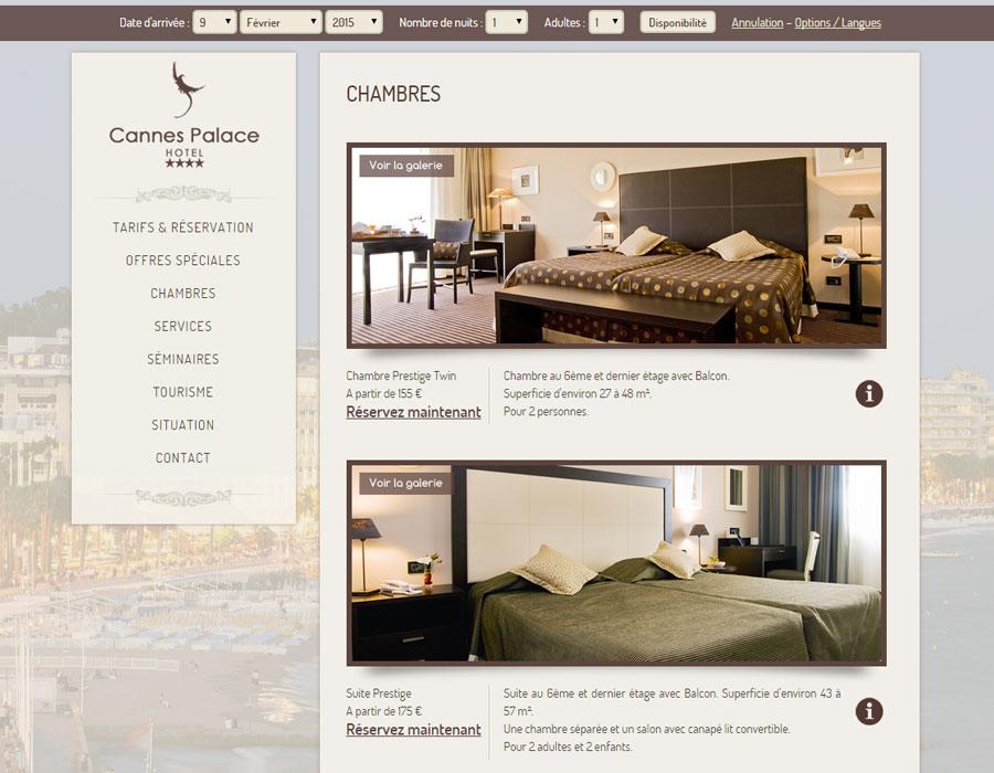 vitrine de réservation du Cannes Palace Hôtel ****