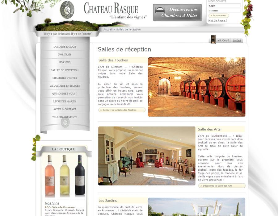 Vitrine et e-commerce du vignoble château Rasque